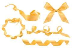 Set of gold ribbons Stock Images