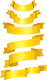 Set of gold ribbons. CMYK Stock Image