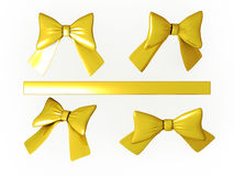 Set of gold ribbons with clipping path. Set of gold ribbons , clipping path included Stock Image