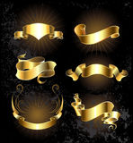 Set of gold ribbons set Royalty Free Stock Photos
