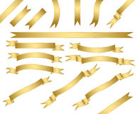 Set of gold ribbons. Royalty Free Stock Photo
