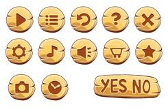 Set of gold round buttons stock illustration