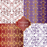 Set of gold seamless decorative patterns.  Stock Image