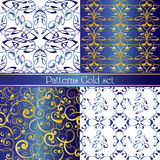 Set of gold seamless decorative patterns. Vector illustration Royalty Free Stock Images