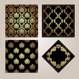 Set of gold seamless pattern and frame. Damask motifs. Royalty Free Stock Photography