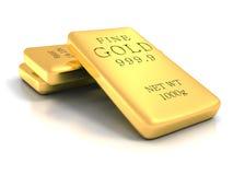 Set of gold shiny bullion bars on white reflection background Royalty Free Stock Photo