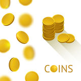 Set of Gold Shiny Coins Royalty Free Stock Images