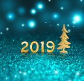 Set of gold shiny digits on glitter background. New year 2019 background. Christmas stock illustration