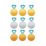 Set Gold-, silbernen und Bronzemedaillen Stockbilder