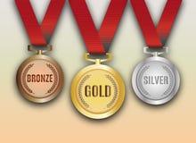 Set Gold-, silbernen und Bronzemedaillen Vektor Lizenzfreie Stockfotografie