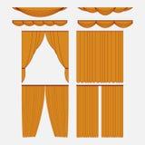 Set of gold silk velvet curtains Stock Image