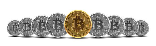 Set of gold and silver bitcoins. Set of mixed gold and silver crypto currency coins with bitcoin symbol on obverse isolated on white background. Vector Stock Image