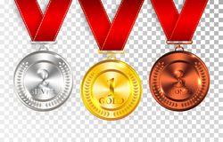 Set of gold, silver and bronze award medals with red ribbons. Medal round empty polished vector collection isolated on transparent Royalty Free Stock Image