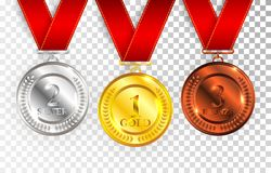 Set of gold, silver and bronze award medals with red ribbons. Medal round empty polished vector collection isolated on transparent Stock Images