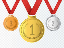 Set of gold, silver and bronze Award medals . Vector Stock Image