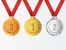 Set of gold, silver and bronze Award medals . Vector stock illustration