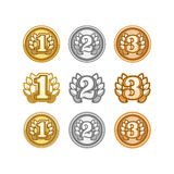 Set of gold, silver and bronze Award medals on white Stock Image