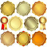 Set gold, silver and bronze awards Royalty Free Stock Photo