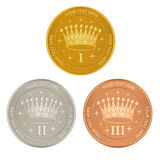 Set of gold, silver and bronze awards Stock Photo