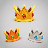 Set of gold silver bronze crowns with jewels Stock Photos