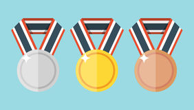 Set of gold, silver and bronze flat medals Royalty Free Stock Photos
