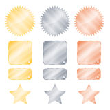 Set gold silver and bronze glossy vector stickers in the shape of a circle with a square rectangle teeth and stars.  Stock Image