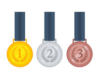 Set of gold, silver and bronze medal. Vector illustration of gold, silver and bronze medals on ribbons Stock Photography