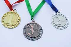Set of gold, silver and bronze medals.Awards. Stock Photo