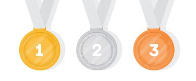 Set of gold, silver and bronze medals. Collection of winner or champion prizes or rewards for sports game competition. Tournament, contest or championship Stock Photo