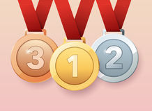 Set of gold, silver and bronze medals. Flat design style modern. Vector illustration Royalty Free Stock Photo