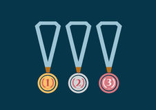 Set of gold, silver and bronze medals on green background,Vector illustrations. Set of gold, silver and bronze medals on green background Stock Image