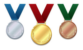 Set of gold, silver and bronze medals Stock Images