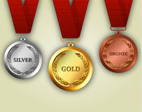 Set of gold, silver and bronze medals Royalty Free Stock Photos