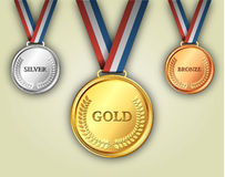 Set of gold, silver and bronze medals Stock Image