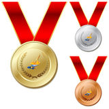 Set of gold silver bronze medals with ribbon white Royalty Free Stock Photos