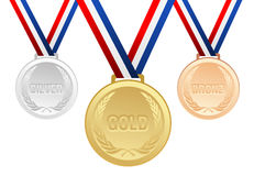 Set of gold, silver and bronze medals with ribbons Royalty Free Stock Photography
