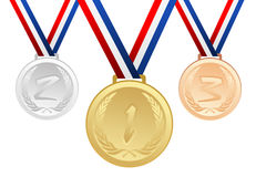 Set of gold, silver and bronze medals with ribbons Stock Photography