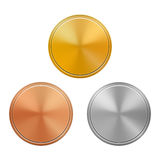 Set of gold, silver and bronze medals template,   on white background. Vector illustration Royalty Free Stock Photos