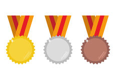 Set of gold, silver and bronze medals vector illustration. Royalty Free Stock Image