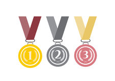 Set of gold, silver and bronze medals on white background,Vector illustrations. Set of gold, silver and bronze medals on white background Royalty Free Stock Photography