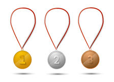 Set of gold, silver and bronze medals on white Stock Images