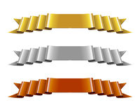 Set of Gold, Silver and Bronze Ribbons Royalty Free Stock Image