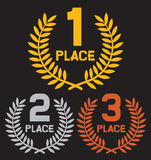 First place, second place and third place Royalty Free Stock Photography