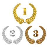 Set of  gold, silver and bronze symbols places Stock Images