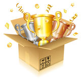Set of Gold, Silver and Bronze Trophies Stock Images