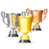 Set of Gold, Silver and Bronze Trophies Stock Image