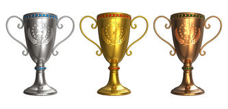 Set of gold, silver and bronze trophy cups Royalty Free Stock Photo
