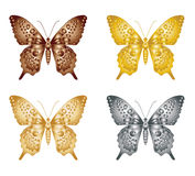 Set of gold silver butterfly on a white background, a collection of butterflies. Vector illustration. Stock Photos