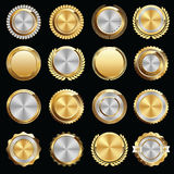 Set of Gold and Silver Certificate Seals and Badges Royalty Free Stock Images