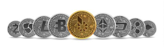 Set of gold and silver crypto currencies Stock Photography